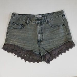 Free People Grey Lace Denim Shorts